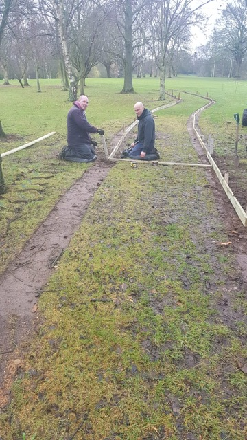 Chris and Chas preparing for new pathway 1st green to 2nd tee