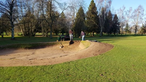 Jake and Neil working on 6th hole fairway bunker (lhs)